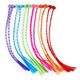 #3: Colorful Funny Nylon Hair Pieces Hair Braid Extensions Attachments (12 Pieces)
