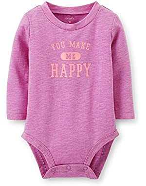 Baby Girls Happy Neon Bodysuit (Purple)