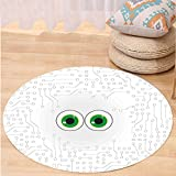 VROSELV Custom carpetTrippy High-Tech Hardware Circuit Board Backdrop with Eye Forms Digital Picture for Bedroom Living Room Dorm Pearl Black Jade Green Round 24 inches