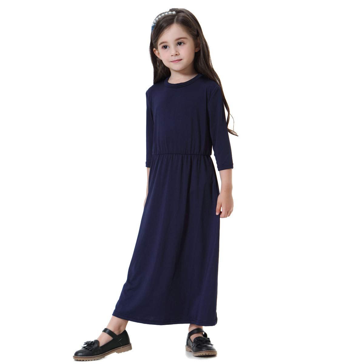 Gonxifacai Toddler Kids Children Girls Winter Muslim Solid Long Sleeve Dress Casual Long Dess