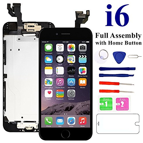 Nroech LCD Screen Replacement for iPhone 6 (Black) with Home Button, Full Assembly with Front Camera, Ear Speaker and Light/Proximity sensor, Repair Tools and Free Screen Protector Included. by Nroech