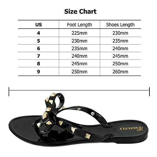 ffbb02cd1 Tengyufly Womens Rivets Bowtie Flip Flops Jelly Thong Sandal Rubber Flat  Summer Beach Rain Shoes