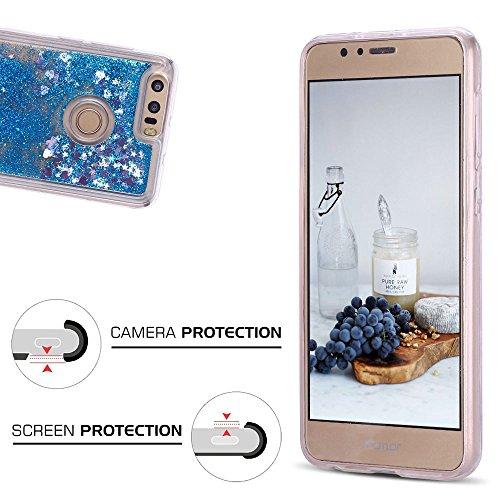 Funda Huawei Honor 8, Caselover 3D Bling Silicona TPU Arena Movediza Carcasa para Honor 8 Glitter Líquido Brillar Lentejuelas Suave Transparente Cristal Protección Caso Anti Arañazos Tapa Choque Absor Azul