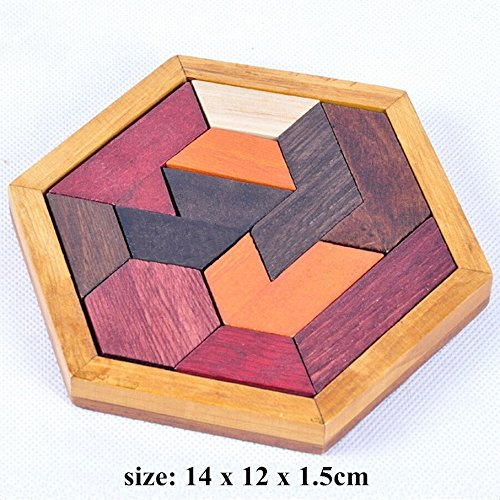KINGOU Child Intelligence Jigsaw Toy Wisdom Wooden Tangram Puzzle Brain Teaser for Kids