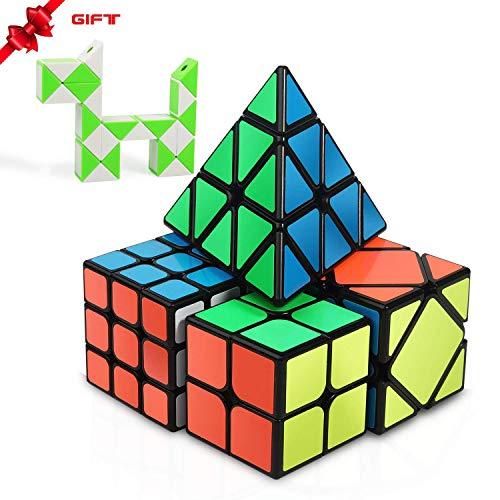 Speed Cube Set, INTEGEAR Magic Cube Bundle 2x2 3x3 Pyramid and Skewb Cube Set with a Bonus Snake Ruler Twist [4 Pack] + [ 1 Bonus Pack]