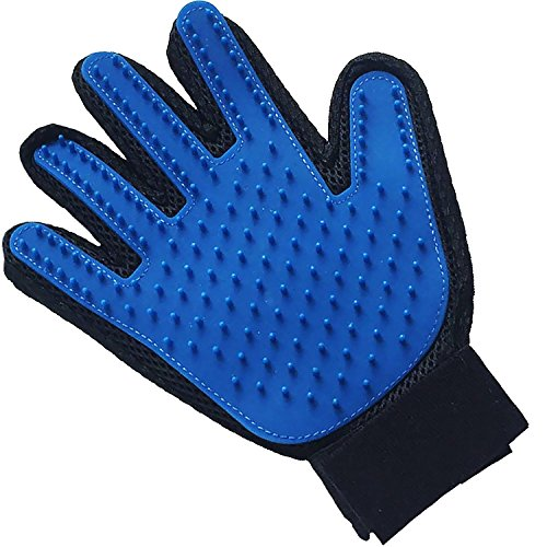 AMSENC Deshedding Glove Brush Dog Cat, True Touch, Professional Pets Grooming Tools, Long Short Hair Remover, Dogs, Cats, Horses, Bunnies, Pet Massage, Bathing, Greate Pet Gift (Blue)
