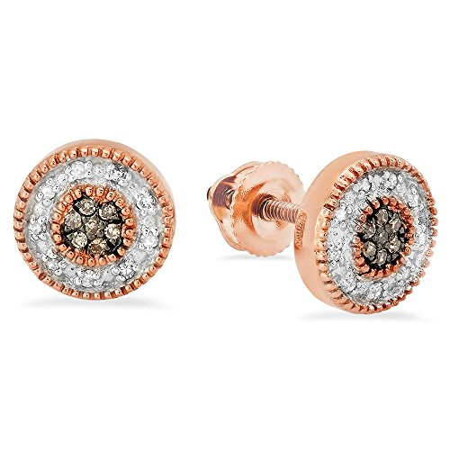 - Fingalo 0.10 Carat (ctw) 10K Rose Gold Round Cut Champagne & White Diamond Cluster Stud Earrings