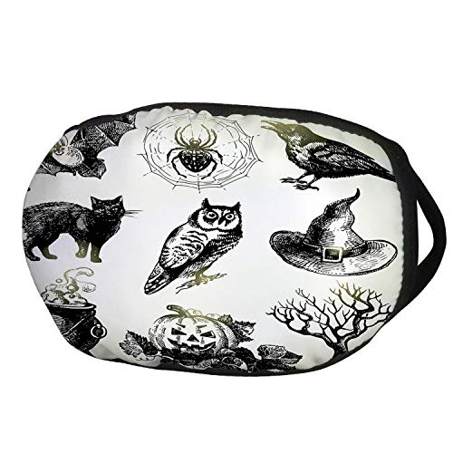 Fashion Cotton Antidust Face Mouth Mask,Vintage Halloween,Halloween Related Pictures Drawn by Hand Raven Owl Spider Black Cat Decorative,Black White,for women & men for $<!--$9.99-->