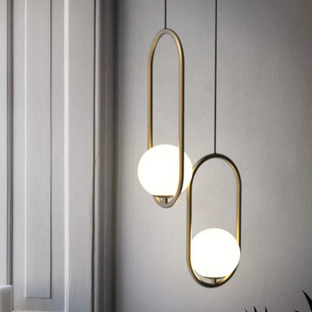 Piccola Ellisse lampadario Oro Bronzo Lampadario Camera Personalit/à Sala Da Pranzo Studio Lampada Vetro Palla Lampadario