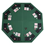 Eminetshop 48'' Green Octagon 8 Player Four Fold Folding Poker Table Top & Carrying Case