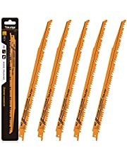 TOLESA Reciprocating Saw Blade for Wood Pruning Sawzall Saw CRV 6TPI - 5 Pack