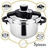 Z&L 6 Quart Stainless Steel Pressure Cooker with One-hand System,7psi/12psi Settings Premium High Pressure Cooker,Induction Pressure Cookware,Stove top Pressure Cooker