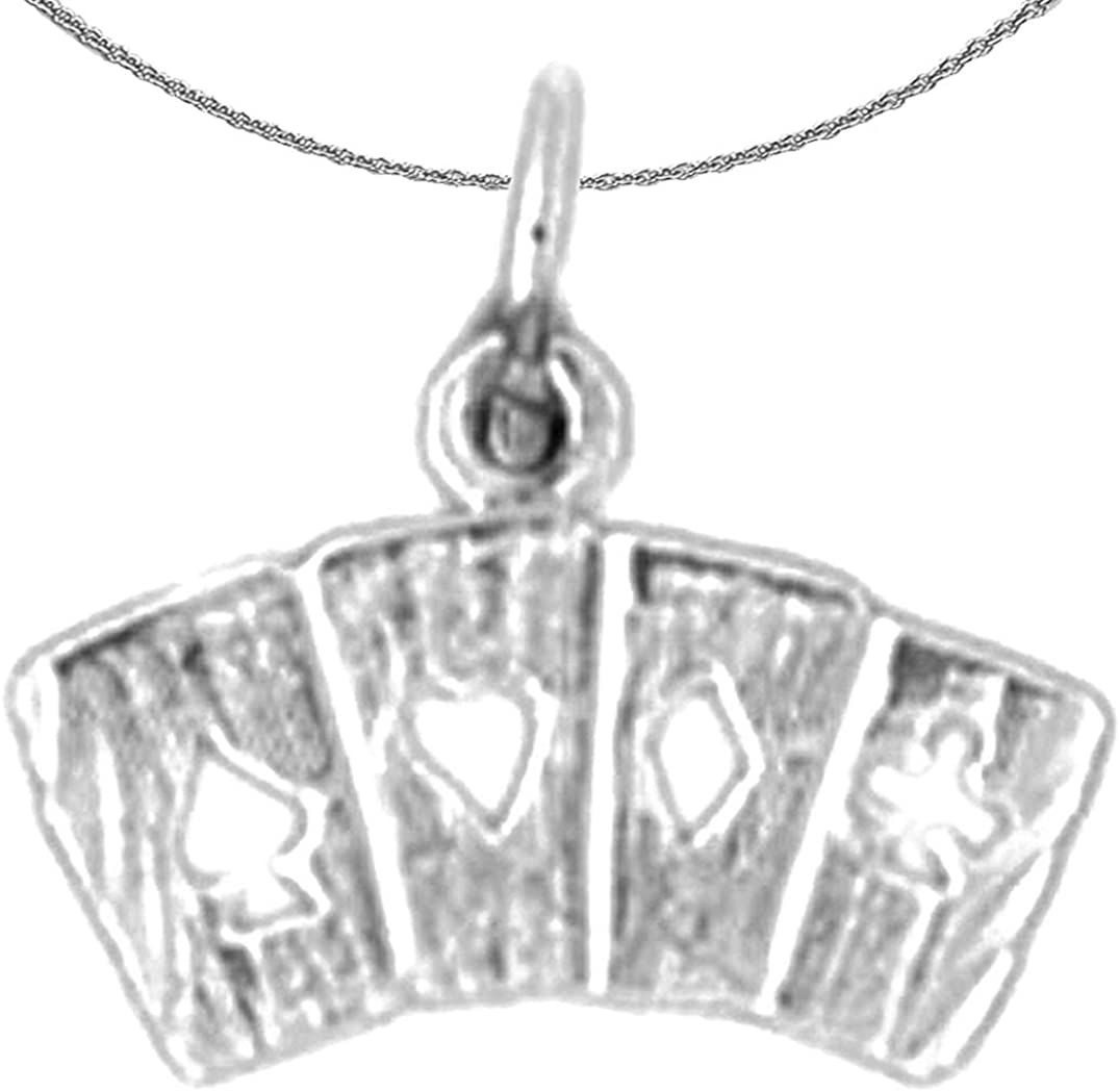 Flush Pendant with 18 Necklace Jewels Obsession Silver Playing Cards Rhodium-plated 925 Silver Playing Cards