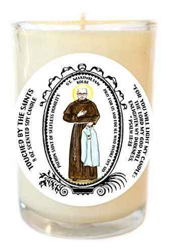 Saint Maximilian for Selfless Humility 8 Oz Scented Soy Glass Prayer Candle by Touched By The Saints