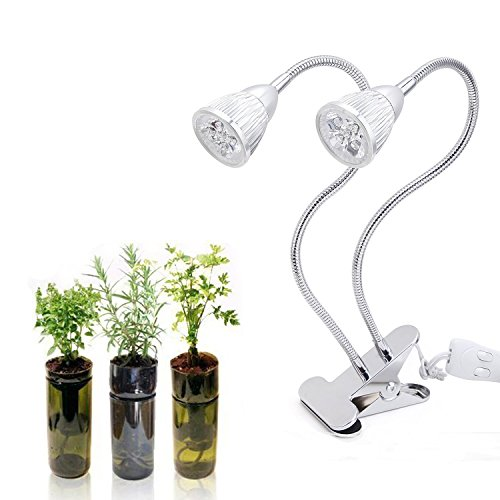Plant Lights for Indoor Plants, Genround 10W LED Premium Dual Head LED Plant Lamp |Gooseneck Arm Double Switch | Plant Lamp for Indoor Plants, Hydroponic Garden, Plant stand, Greenhouse, Home, Seeding