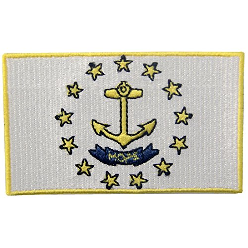 (Rhode Island State Flag Embroidered Emblem Iron On Sew On RI Patch )