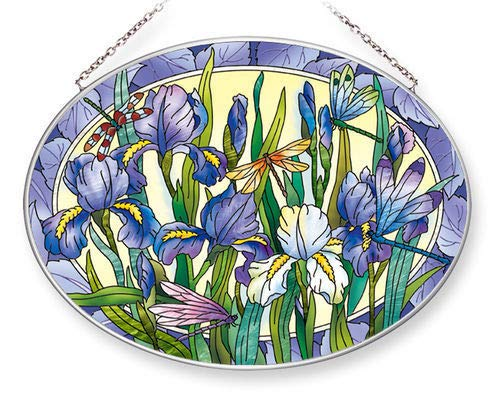 - Stained Glass Suncatcher 9 X 6.5 Oval Iris with Dragonflies