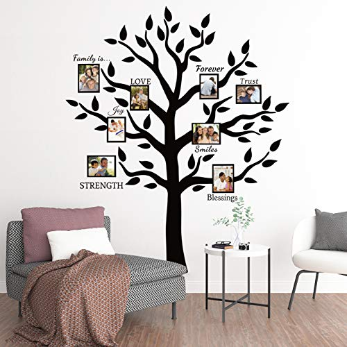 Large Family Tree Branch Photo Frames Wall Decals Quotes Stickers for Living Room Home Decor Art,69x83in - Family Tree Wallpaper