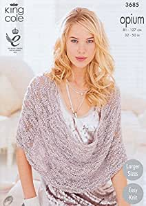 King Cole Opium Scarf, Snoods, Poncho & Wrap Knitting Pattern 3685 by King Cole