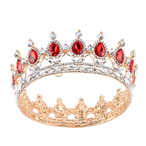 Stuffwholesale Princess Crown Tiaras Prom Party Wedding Bridesmaid Hair Piece Headband (Red) -
