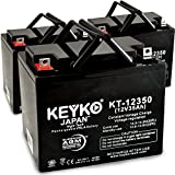 Electric Mobility Candy Apple 12V 35Ah SLA Sealed Lead Acid AGM Rechargeable Replacement Battery Genuine KEYKO (W/ L2 Nut & Bolt Terminal) - 3 Pack