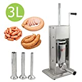 New Sausage Stuffer Vertical Stainless Steel 3L/7LB 7 Pound Meat Filler 4 nozzle review