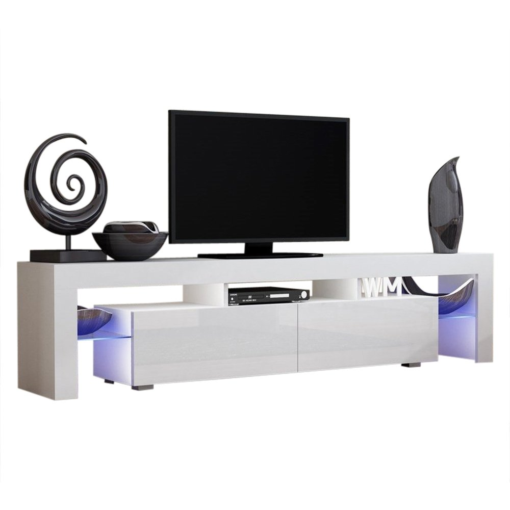 Concept Muebles TV Stand Milano 200 / Modern LED TV Cabinet/Living Room Furniture/Tv Cabinet fit for up to 90-inch TV Screens/High Capacity Tv Console for Modern Living Room (White & White)