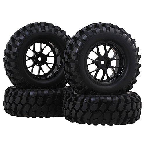 BQLZR RC1:10 Rock Crawler Gravel Shape Pattern Rubber Tires & Black Plastic Y-Shaped Wheel Rim Pack of 4