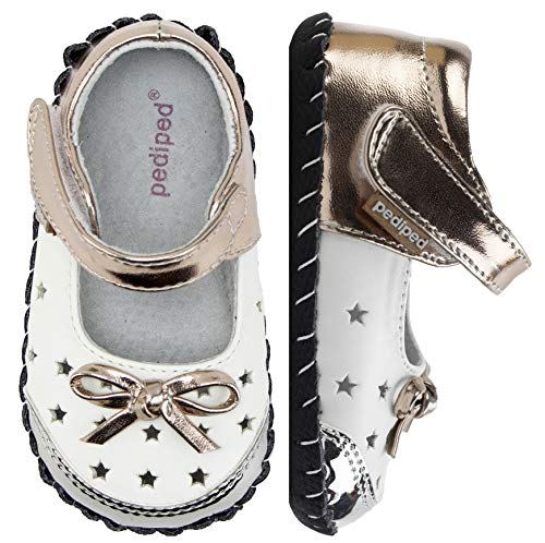 Bronze Baby Shoe - pediped Originals, Scarlett White Silver Bronze Mary Jane, Slip Resistant, All Leather Soft-Sole, Metallic Man Made Upper, Genuine Leather Lining, Adjustable Hook-and-Loop Velcro Closure Strap