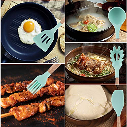 Kitchen Utensil Set - 16 Silicone Cooking Utensils. Kitchen Gadgets for Cookware Kit. Kitchen Accessories Tools. Heat-resistant Non-toxic Nonstick. Best Spatula set Serving Utensils Gifts by APTGAGA