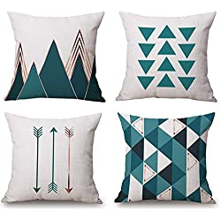 Modern Simple Geometric Style Decorative Cotton Linen Blend Throw Pillow Covers Set, 18 x 18 Inches, Pack of 4 (Teal Green)