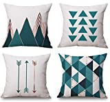 Decorative Pillow Cover - Modern Simple Geometric Style Soft Linen Burlap Square Throw Pillow Covers, 18 x 18 Inches, Pack of 4 (Green)