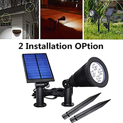 USYAO Solar Powered LED Spot Light IP44 Waterproof Separated Panel and Light with Adjustable Angle and 3 Modes Brightness Illuminate Your Garden Courtyard Driveway Pathway Lawn - 2 Installation Option