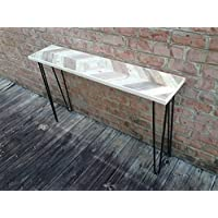 Mirrored chevron style console table with black hairpin legs