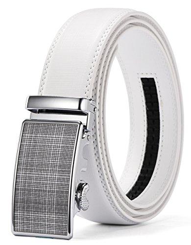 [Xhtang Men's Ratchet Belt Automatic Buckle Genuine White Leather belt 35mm Wide] (Leather Logo Buckle Belt)