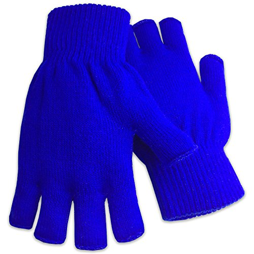 Winter Fingerless Gloves Warm Half Finger Knitted -Unisex Standard Size - Electric Blue ()
