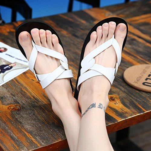 Xing Lin Sandalias De Hombre Zapatillas De Cuero De Hombres, Hombres Coreanos, Placa De Pie Calzado De Playa, Sandalias Y Zapatillas 1 white
