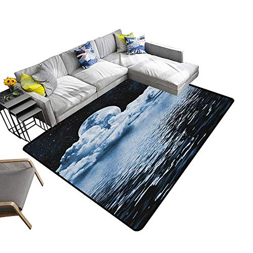 Moon Household Decorative Floor mat The Moon Setting Over Clouds Water Reflections Stars Universe Themed Image Print 70