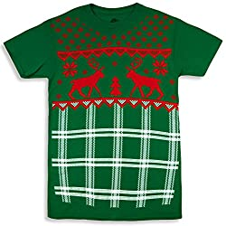 Hybrid Ugly Christmas Sweater Style Cute Kittens Men's T-Shirt Reindeer Small