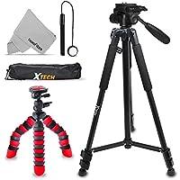 "Xtech Double Tripod Kit with 72"" Inch Tripod + 12"" Flexible Tripod for Nikon Coolpix A900, B500, B700, L840, L830, W300, W100, P900, P610, AW130, AW120, S9900, S9700"
