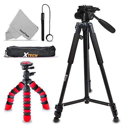 "Xtech Double Tripod Kit with 72"" Inch Tripod + 12"" Flexible Tripod for Canon Powershot G5 X, G9 X, G3 X, SX410 IS, SX530 HS, SX60 HS, G7 X, D30, SX520, SX400 IS, G1 X Mark II, SX700"