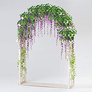 Bomarolan Wisteria Artificial Silk Vine Flowers Fake Hanging Garland for Wedding Arch Backdrop Decor 3 5/8 Feet Pack of 12 Pieces(Purple) 29