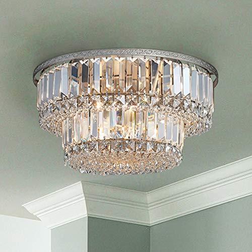 Saint Mossi Chandelier Modern K9 Crystal Raindrop Chandelier Lighting Flush Mount LED Ceiling Light Fixture Pendant Lamp for Dining Room Bathroom Bedroom Livingroom 5 G9 Bulbs Required H9 X D16