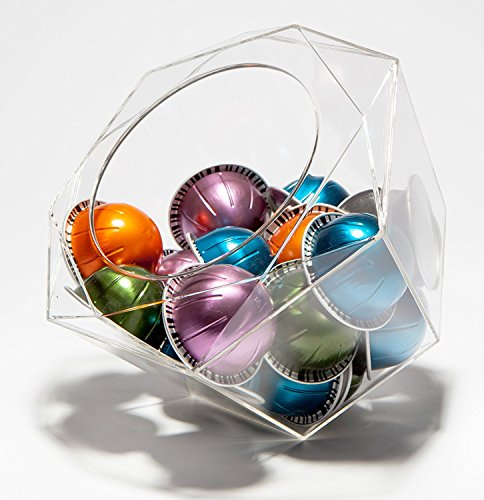 Nespresso Vertuoline Compatible Hexagon Plexiglass Capsule Pod Holder, Clear Dispenser, Storage Solution for Nespresso Machines and Keurig K-Cups - Fits 40 Capsules