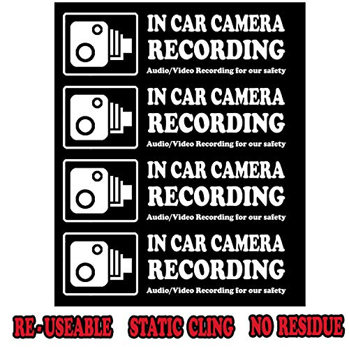 Camera Audio Video Recording Window Cars Stickers - 4 Signs Removable Reusable Indoor Dashcam in Use Vehicles Warning Decals Labels Bumpers Static Cling Accessories for Rideshare Taxi Drivers (White)
