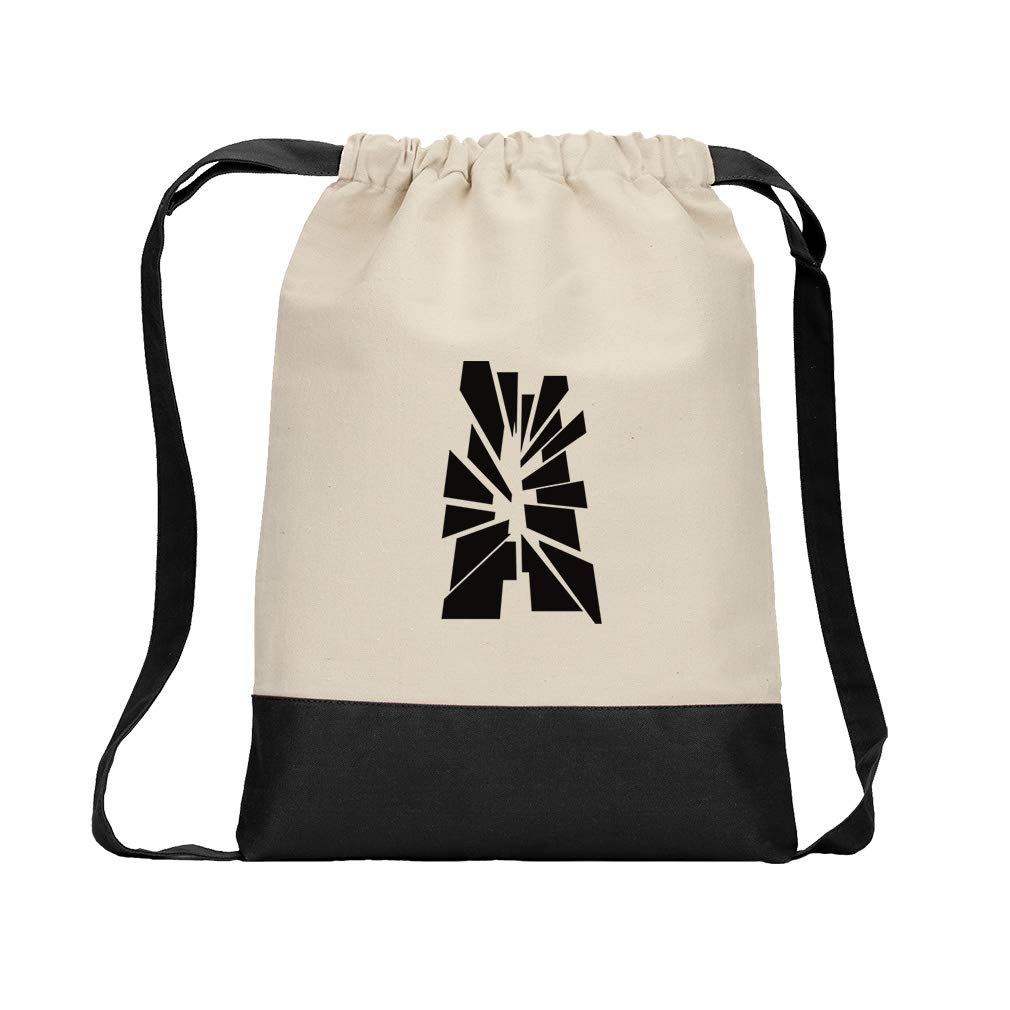 ''A'' Glass Initial Monogram Letter A Cotton Canvas Color Drawstring Bag Backpack - Black