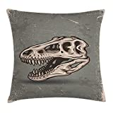 good looking luxury patio design ideas Dinosaur Throw Pillow Cushion Cover, Vintage Style Dinosaur Skull Poster on Grungy Looking Background with Prints, Decorative Square Accent Pillow Case, 18 X 18 inches, Sage Green Tan