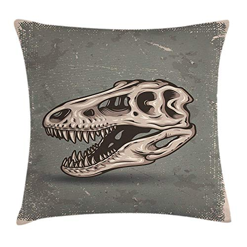 Dinosaur Throw Pillow Cushion Cover, Vintage Style Dinosaur Skull Poster on Grungy Looking Background with Prints, Decorative Square Accent Pillow Case, 18 X 18 inches, Sage Green Tan