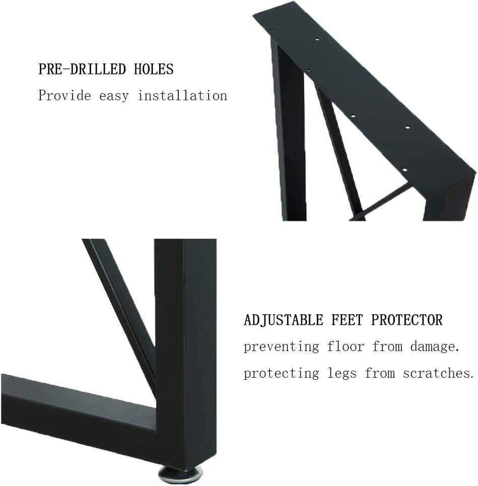 """K Type Table Legs,Rustic Heavy Duty DIY Iron Table Legs,Square Tube Coffee Table Legs 2 PCS Matel Legs for Table,Cast Iron Dining Table Legs A 28/"""" Height 18/"""" Wide"""