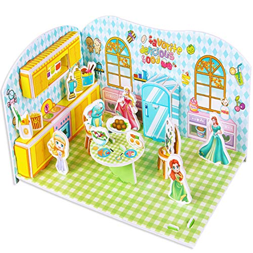 Wenini Christmas 3D Paper Board Construction Assemble Puzzle Kids Educational Toy, Early Learning Construction Assemble Children Christmas Home Decoration (E❤️)